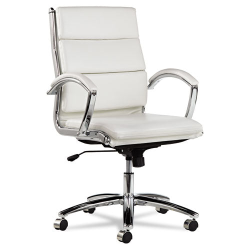 Alera Neratoli Mid-Back Slim Profile Chair, Supports up to 275 lbs., White Seat/White Back, Chrome Base