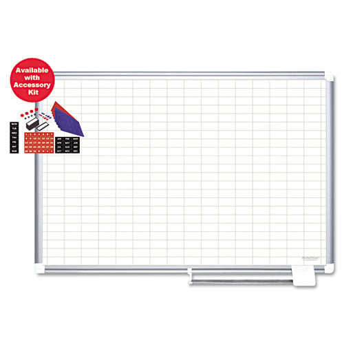 Platinum Plus Magnetic Porcelain Dry Erase Board, 1 x 2 Grid, 48 x 36, Silver