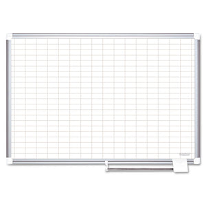 Grid Planning Board, 1 x 2 Grid, 48 x 36, White/Silver