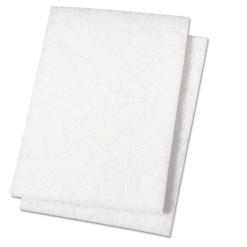 Light Duty Scour Pad, White, 6 x 9, 20/Carton