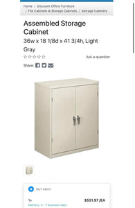 HON Assembled Storage Cabinet, 36W X 18 1/8D X 41 3/4H, Light Gray