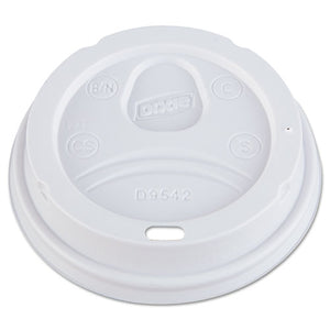 Dome Drink-Thru Lids, Fits 10, 12, 16oz Paper Hot Cups, White, 1000/Carton