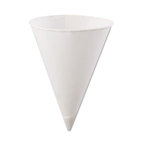 Rolled Rim Paper Cone Cups, 4.5oz, White, 200/Bag, 25 Bags/Carton