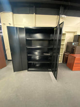 "Load image into Gallery viewer, Tennsco Jumbo 78"" Steel Storage Cabinet with 4 Shelves, Black"