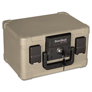 Fire and Waterproof Chest, 0.15 cu ft, 12.2w x 9.8d x 7.3h, Taupe