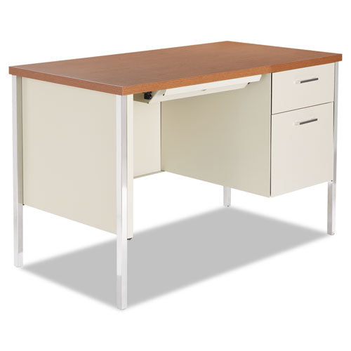 Single Pedestal Steel Desk, Metal Desk, 45.25w x 24d x 29.5h, Cherry/Putty