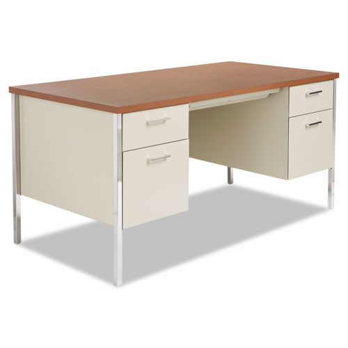 Double Pedestal Steel Desk, Metal Desk, 60w x 30d x 29-1/2h, Cherry/Putty