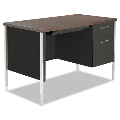 Single Pedestal Steel Desk, Metal Desk, 45.25w x 24d x 29.5h, Mocha/Black