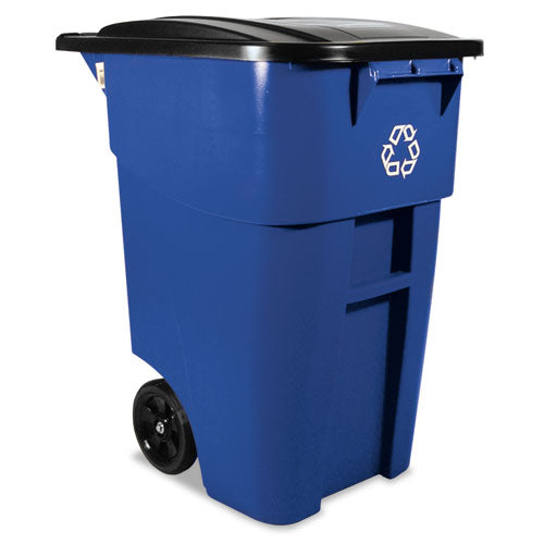 Brute Recycling Rollout Container, Square, 50gal, Blue