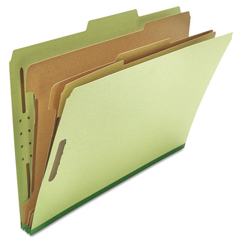 Four-, Six- and Eight-Section Classification Folders, 3 Dividers, Legal Size, Green, 10/Box