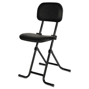 "Alera IL Series Height-Adjustable Folding Stool, 27.5"" Seat Height, Supports up to 300 lbs., Black Seat/Back, Black Base"