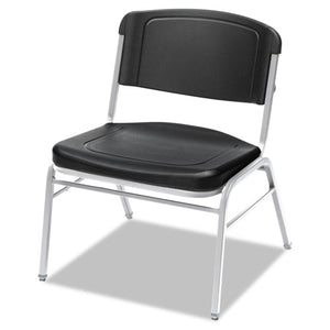 Rough 'N Ready Big and Tall Stack Chair, Black Seat/Black Back, Silver Base, 4/Carton