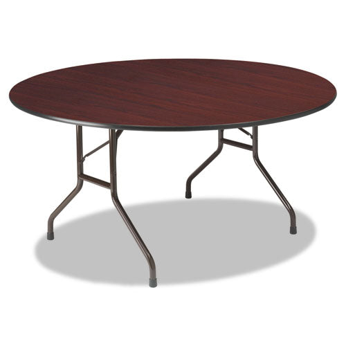 Premium Wood Laminate Folding Table, 60 Dia. x 29h, Mahogany Top/Gray Base