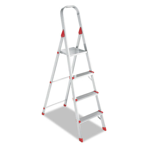 Aluminum Euro Platform Ladder, 8 ft Working Height, 200 lbs Capacity, 4 Step, Aluminum/Red
