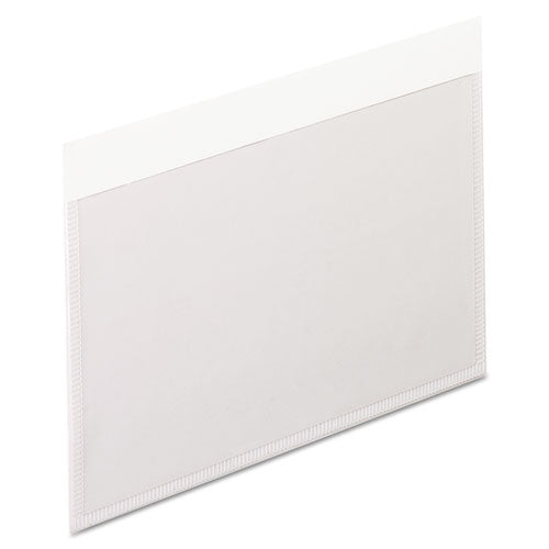 Self-Adhesive Pockets, 3 x 5, Clear Front/White Backing, 100/Box