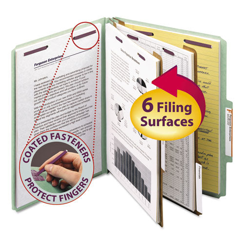 Pressboard Classification Folders w/ SafeSHIELD Coated Fasteners, 2/5 Cut, 2 Dividers, Letter Size, Gray-Green, 10/Box