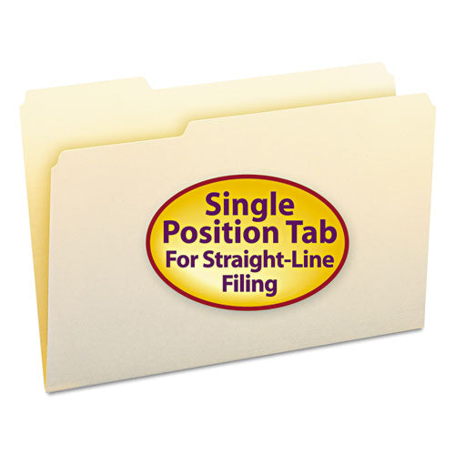 Manila File Folders, 1/3-Cut Tabs, Left Position, Legal Size, 100/Box