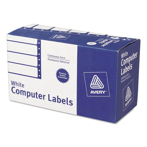 Dot Matrix Printer Mailing Labels, Pin-Fed Printers, 1.94 x 4, White, 5,000/Box