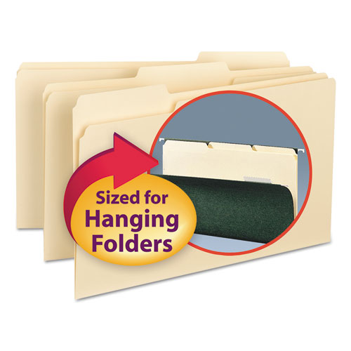 Interior File Folders, 1/3-Cut Tabs, Legal Size, Manila, 100/Box
