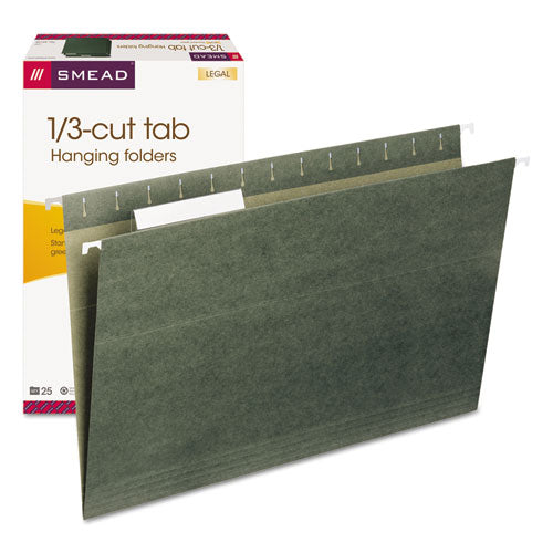 Hanging Folders, Legal Size, 1/3-Cut Tab, Standard Green, 25/Box