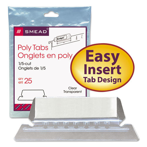 Poly Index Tabs and Inserts For Hanging File Folders, 1/5-Cut Tabs, White/Clear, 2.25