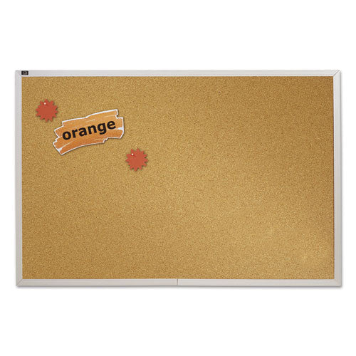 Natural Cork Bulletin Board, 96 x 48, Anodized Aluminum Frame