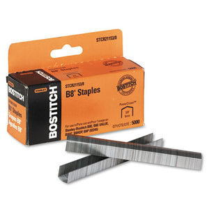 "B8 PowerCrown Premium Staples, 0.38"" Leg, 0.5"" Crown, Steel, 5,000/Box"