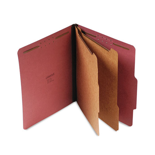 Four-, Six- and Eight-Section Classification Folders, 2 Dividers, Letter Size, Red, 10/Box