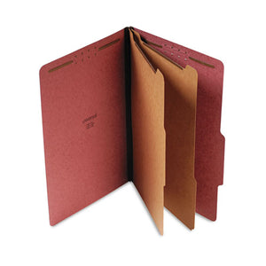 Four-, Six- and Eight-Section Classification Folders, 2 Dividers, Legal Size, Red, 10/Box