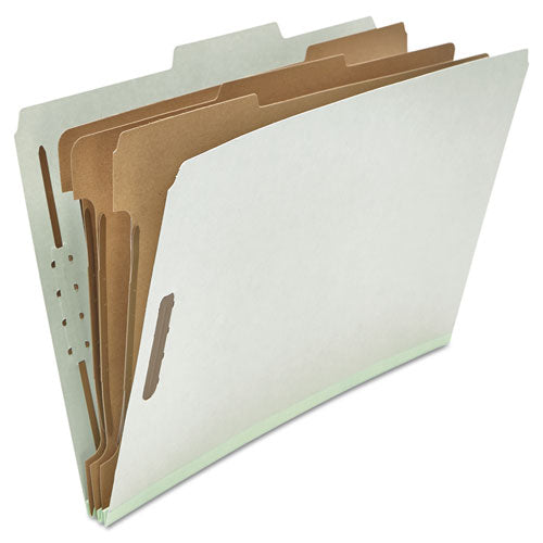 Four-, Six- and Eight-Section Classification Folders, 3 Dividers, Legal Size, Gray, 10/Box