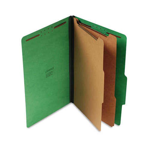 Bright Colored Pressboard Classification Folders, 2 Dividers, Legal Size, Emerald Green, 10/Box
