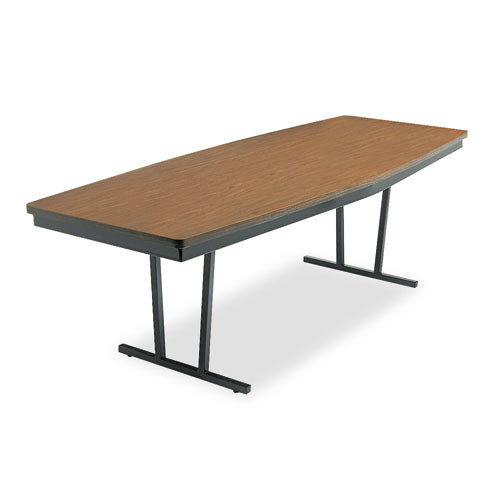 Economy Conference Folding Table, Boat, 96w x 36d x 30h, Walnut/Black