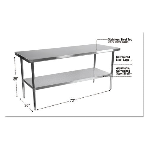 NSF Approved Stainless Steel Foodservice Prep Table, 72 x 30 x 35, Silver