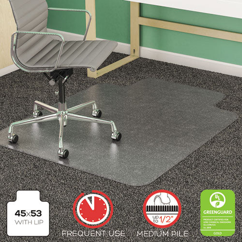 SuperMat Frequent Use Chair Mat for Medium Pile Carpet, 45 x 53, Wide Lipped, Clear