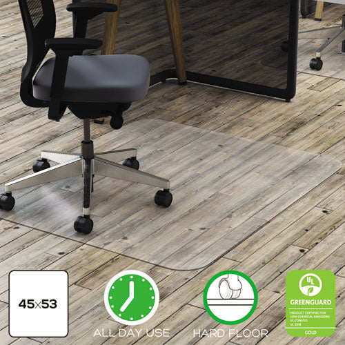 Polycarbonate All Day Use Chair Mat - Hard Floors, 45 x 53, Rectangle, Clear