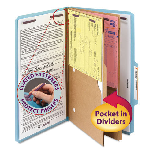 6-Section Pressboard Top Tab Pocket-Style Classification Folders w/ SafeSHIELD Fasteners, 2 Dividers, Legal, Blue, 10/BX