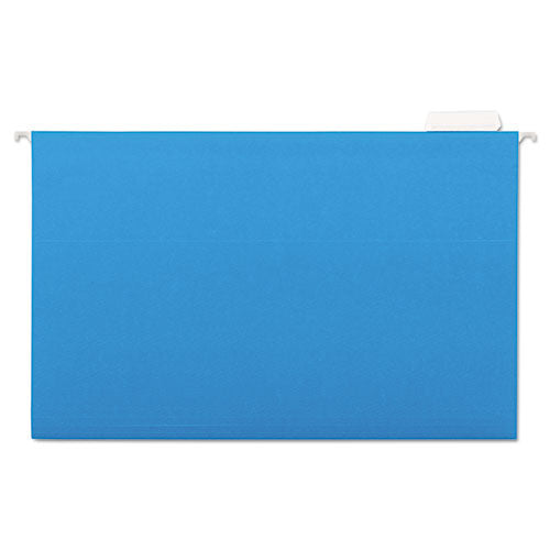Deluxe Bright Color Hanging File Folders, Legal Size, 1/5-Cut Tab, Blue, 25/Box