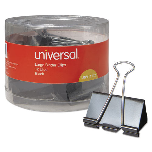 Binder Clips in Dispenser Tub, Large, Black/Silver, 12/Pack