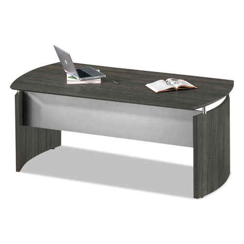 Medina Series Laminate Curved Desk Base, 72w x 36d x 29.5h, Gray Steel