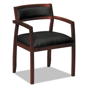 "TopFlight Leather Guest Chair, 22.5"" x 22"" x 31"", Black Seat/Mahogany Back, Mahogany Base"