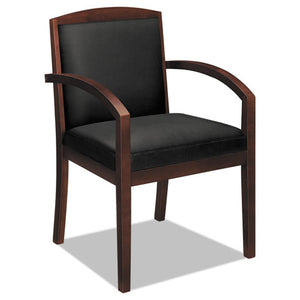 "TopFlight Leather Guest Chair, 23.38"" x 23.75"" x 36.38"", Black Seat/Mahogany Back, Mahogany Base"