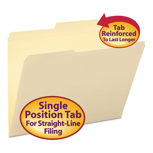 Reinforced Guide Height File Folders, 2/5-Cut 2-Ply Tab, Right of Center, Letter Size, Manila, 100/Box