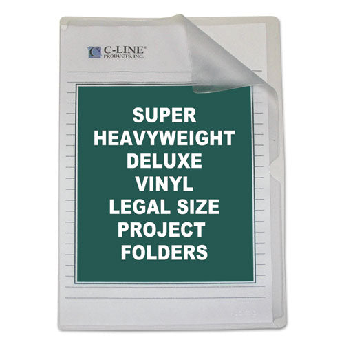 Deluxe Vinyl Project Folders, Legal Size, Clear, 50/Box