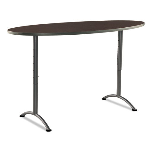 ARC Sit-to-Stand Tables, Oval Top, 36w x 72d x 30-42h, Walnut/Gray