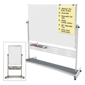 "Magnetic Reversible Mobile Easel, 35 2/5w x 47 1/5h, 80""h Easel, White/Silver"