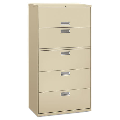 600 Series Five-Drawer Lateral File, 36w x 18d x 64.25h, Putty