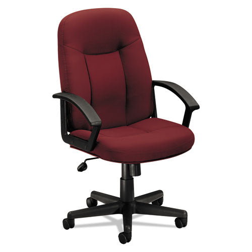 HVL601 Series Executive High-Back Chair, Supports up to 250 lbs., Burgundy Seat/Burgundy Back, Black Base