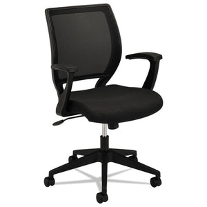 HVL521 Mesh Mid-Back Task Chair, Supports up to 250 lbs., Black Seat/Black Back, Black Base