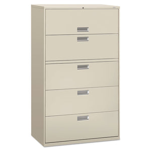 600 Series Five-Drawer Lateral File, 42w x 18d x 64.25h, Light Gray