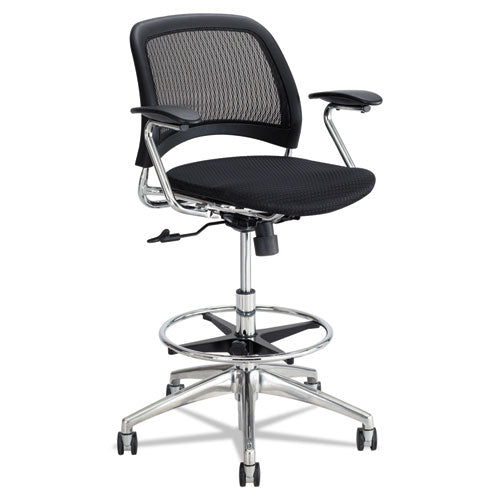 Reve Mesh Extended-Height Chair, Supports up to 250 lbs., Black Seat/Black Back, Chrome Base